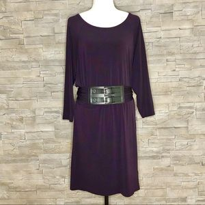 Michael Kors dark eggplant dress with belt